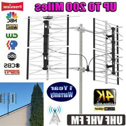 200 Miles Outdoor Digital HD TV Antenna with High Gain and L