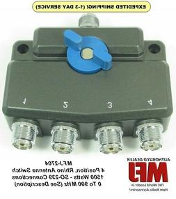 MFJ-2704, 4 Position Antenna Switch,  DC- 900 MHz, 1.5 KW Go