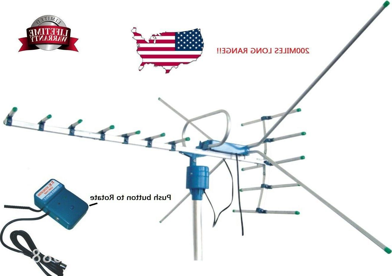 200mile outdoor tv antenna motorized amplified hdtv