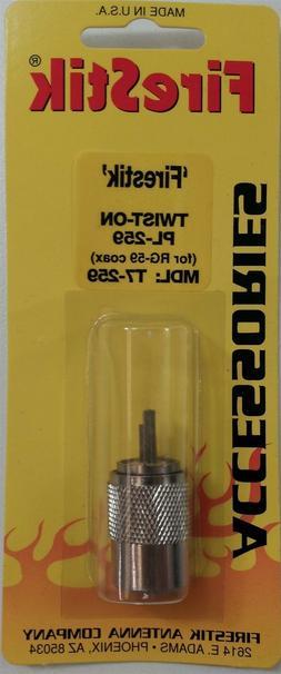 Firestik T7-259 CB Radio PL-259 Screw On RG8X/RG59 Coax Cabl
